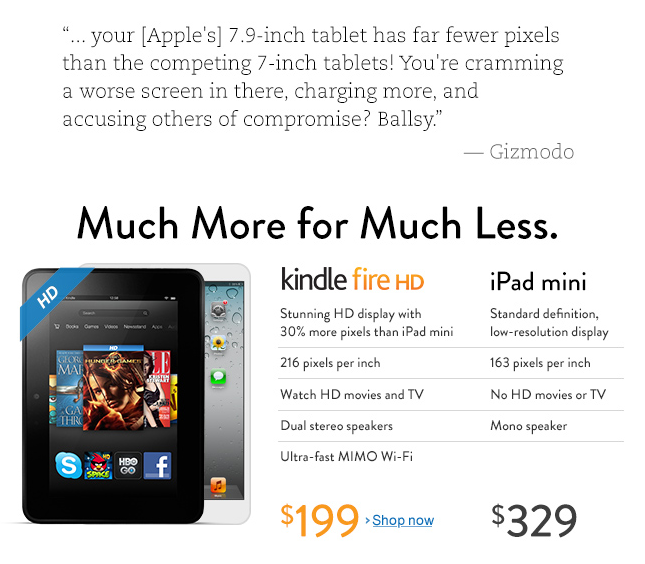 Amazon shows a side by side comparison between the Kindle Fire HD and iPad mini